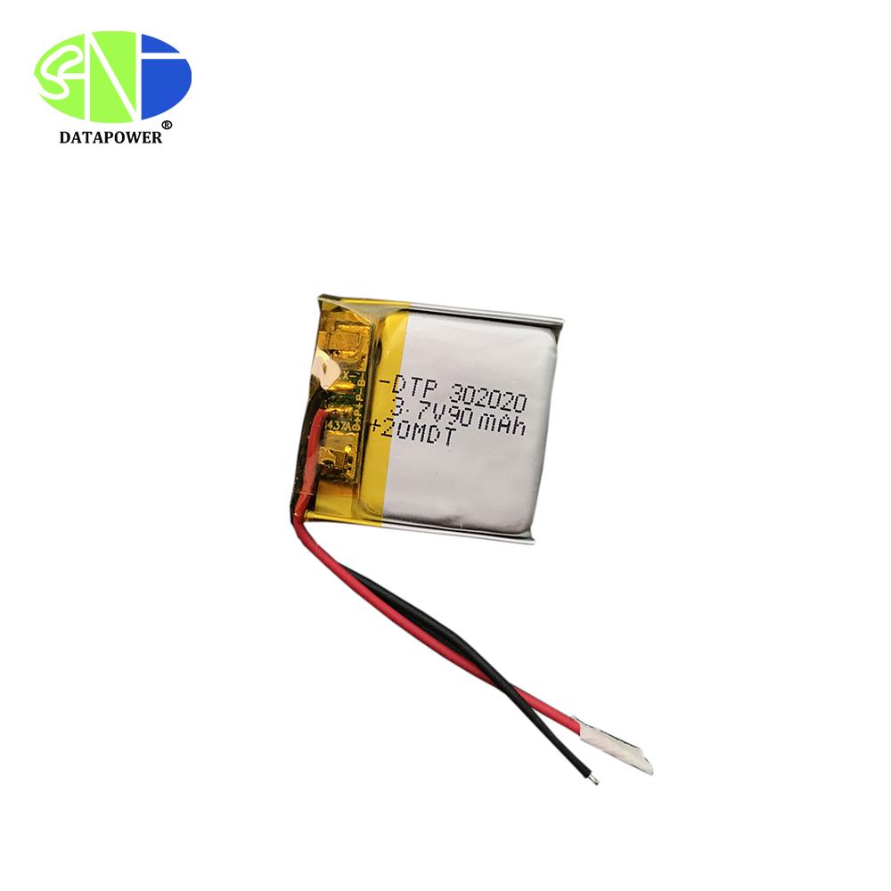 lipo 3.7v 90mAh lithium polymer battery 302020