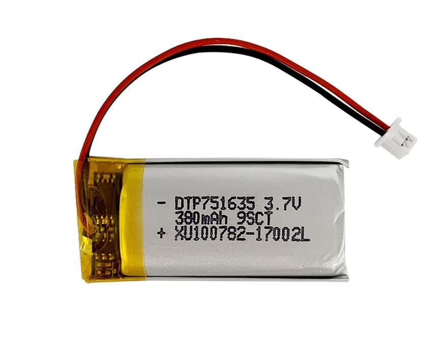 KC Certified DTP751635 3.7V 380mAh Flat Lithium Ion Polymer Battery