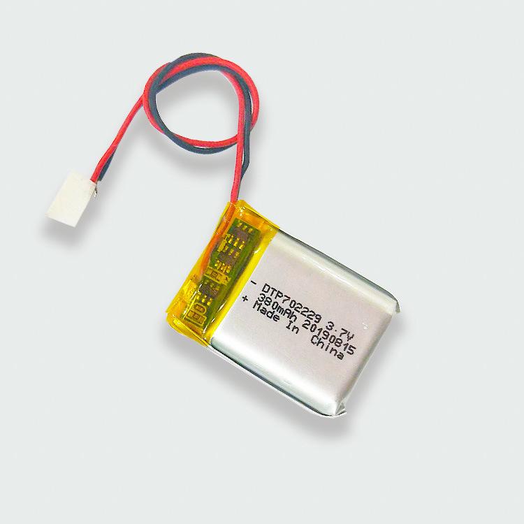 Customized DTP702229 3.7V 380mAh Pouch Li-ion Polymer Battery
