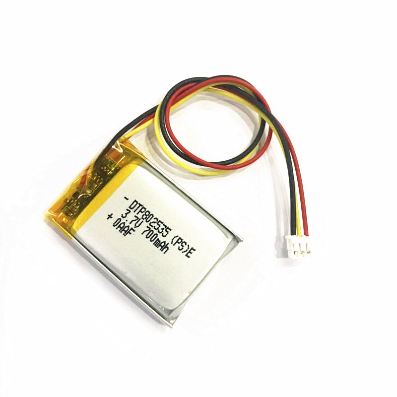 Li-polymer lithium battery DTP 802535 3.7v 700mAH rechargeable li ion battery