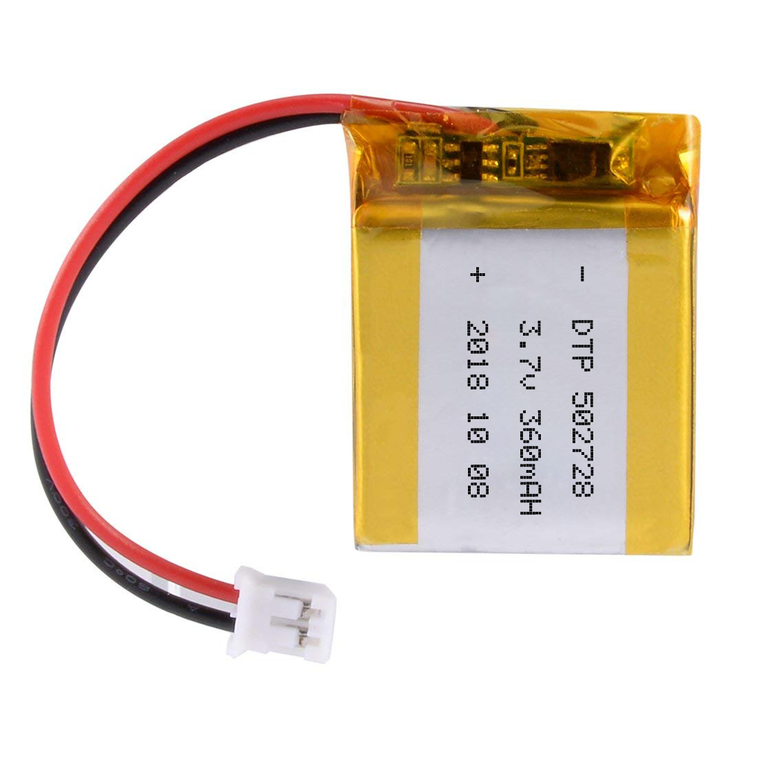 DTP502728 3.7V 360mAh Li Polymer Battery with Protection Circuit and JST Connector