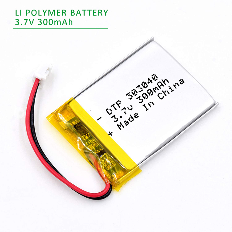 DTP303040 3*30*40mm 3.7V 300mAh Li-ion Polymer Battery with JST PH2.0 Connector