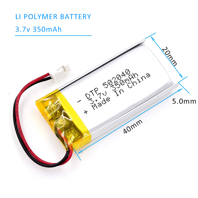 Long Cycle Life DTP502040 3.7V 350mAh Rechargeable Lithium Polymer Battery