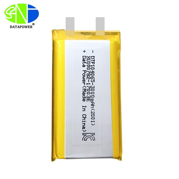 DTP104065 3.7V 3000mAh lipo polymer battery cell in stock