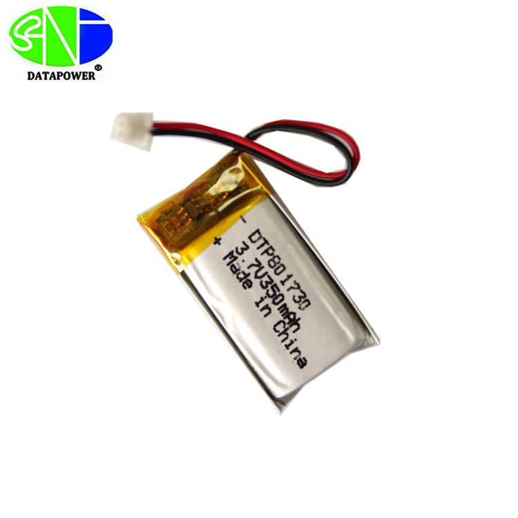 DTP801730 8*17*30mm 3.7V 350mAh Rechargeable Lithium Polymer Battery