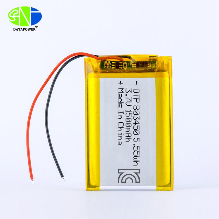 KC CB IEC62133 MSDS Approve DTP803450 3.7V lipo battery 1500mAh Lithium polymer battery