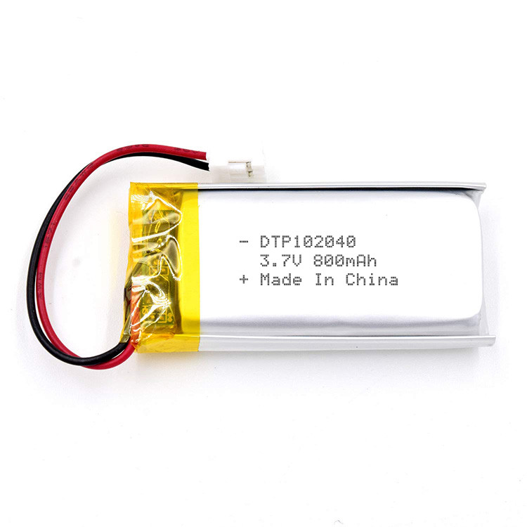 Factory supply dtp102040 lithium rechargeable battery 3.7v 800mah li-polymer battery