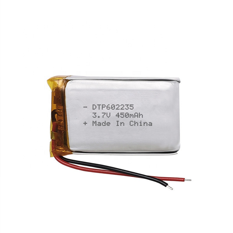 3.7v 450mah rechargeable lithium battery 602235