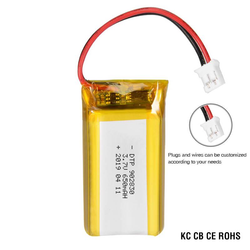CE KC approval battery 3.7V 650mah DTP902830 li-polymer battery