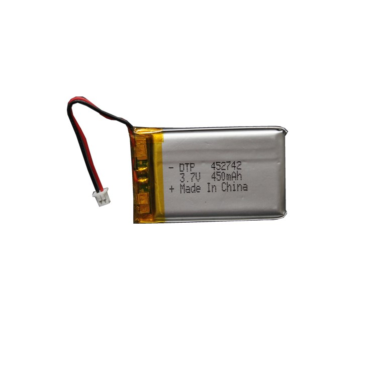 lipo battery 452742 3.7v 450mAh rechargeable lithium polymer battery