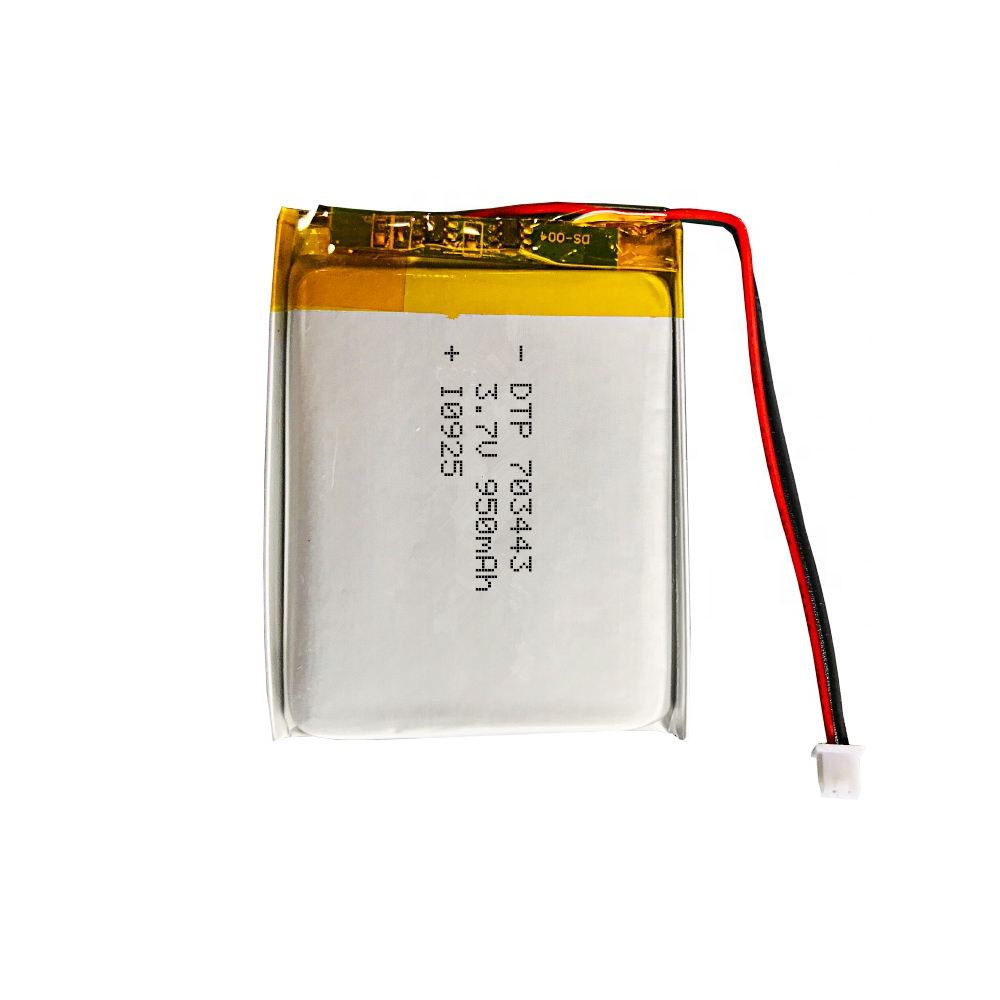 Rechargeable battery DTP703443 3.7v 950mah lithium polymer battery