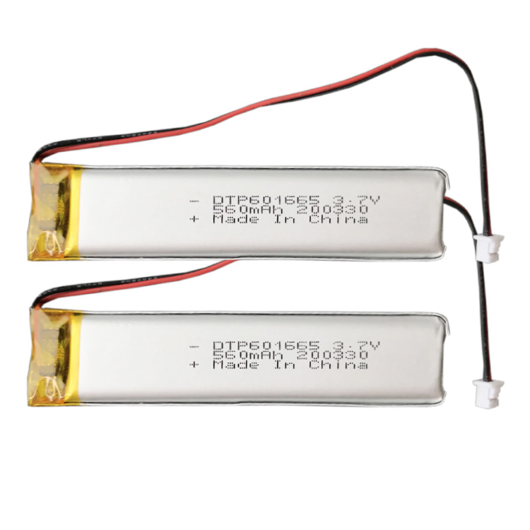 Customized rechargeable lipo 3.7v DTP601565 560mah lithium polymer battery