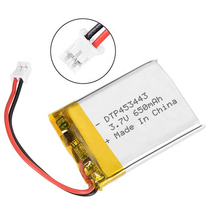 3.7v 2.405wh lithium polymer battery 650mah DTP453443 cell
