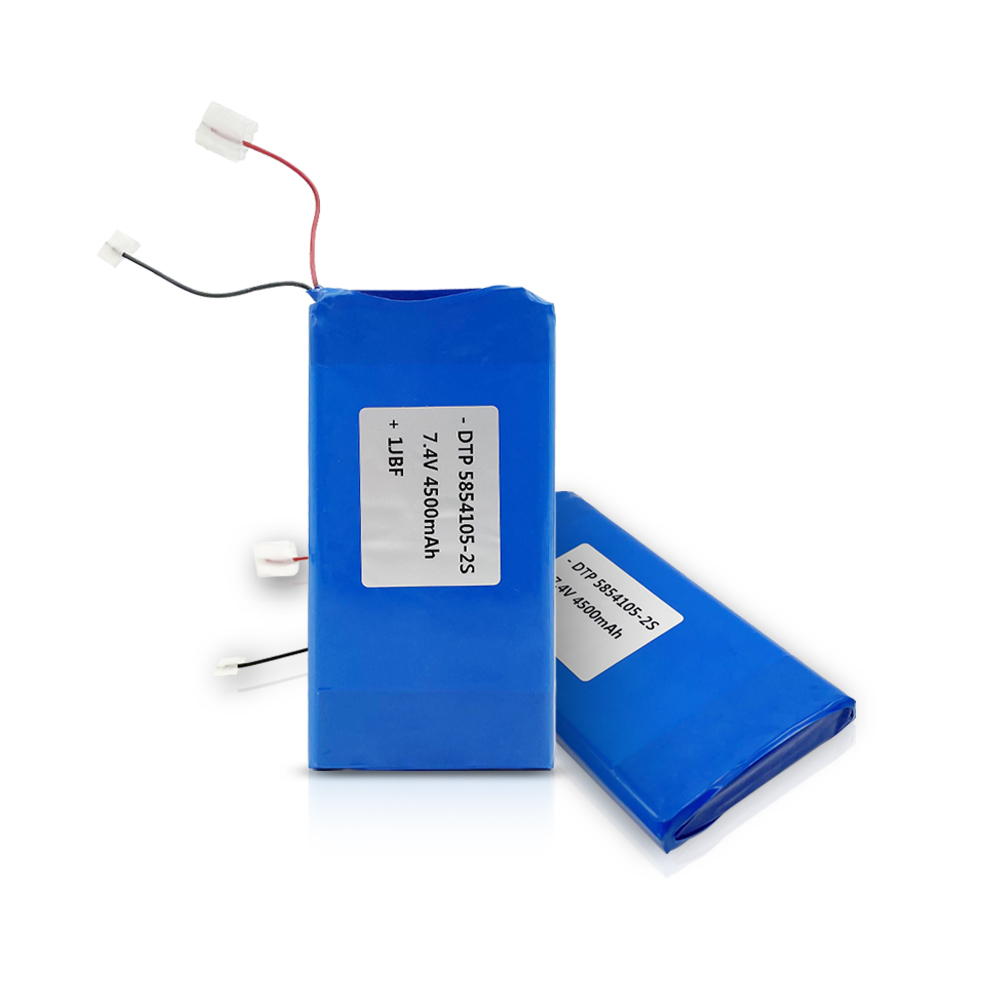 Customized size DTP 5854105-2S 4500mah 7.4v battery with blue PVC